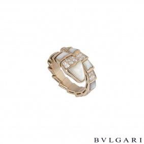 Bvlgari Rose Gold Diamond and Mother of Pearl Serpenti Ring